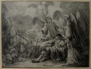 De droom van Jacob: engelen dalen uit de hemel neer langs lichtstralen  (Genesis 28:10-12)