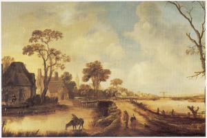 Landschap met een lintdorp aan een vaart