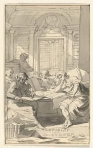 Vijf figuren rond een tafel in een bibliotheek