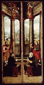 Portret van de stichter en zijn twee zonen, de H. Andreas (linkerluik); portret van de stichtster en haar dochter, de H. Johannes de Evangelist (rechterluik)