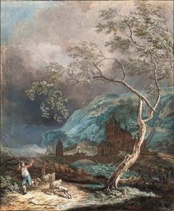Berglandschap met herders die vluchten voor een vallende tak