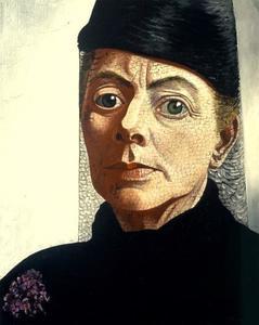 Zelfportret met zwarte hoed en voile