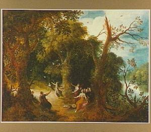 Boslandschap met de muzen en de Piëriden (Ovidius, Metamorfosen 5:290-678)