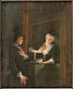 Scène uit de comedie 'Jan Klaasz. of de gewaande dienstmaagd' van Th. Asselijn: de liefdesverklaring van Reinier Adriaansz.