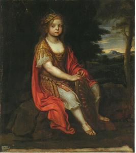 Portret van Wilhelmine Amalia of Brunswick-Lüneburg, derde dochter van hertog Johannes Friedrich von Braunschweig-Lüneburg en hertogin Bendicta-Henrietta van de Pfaltz als de godin Minerva
