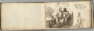 Studies van twee mannen in een interieur, zittende man en twee schapen