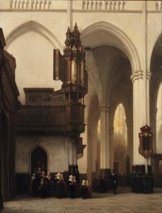 Interieur van de Nieuwe Kerk in Amsterdam met de ' Burgerweesmeisjes' bij het Transept orgel