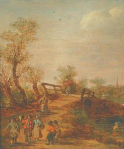 Boeren op een brug