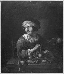 Oude vrouw met dode vogels en haas