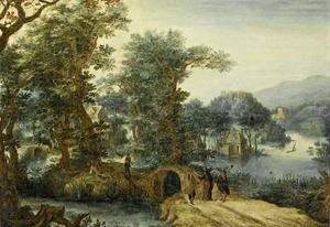 Bebost landschap met huizen tussen de bomen, een beek en Christus op weg naar Emmaus