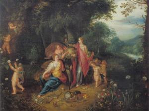 Boslandschap met  een allegorie op de Overvloed van de Aardse gaven