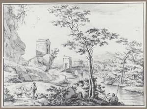 Ponte Lucano bij Tivoli met een herder en zijn kudde