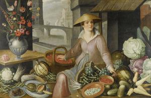 Jonge vrouw in een marktstal met uitstalling van groenten en vruchten