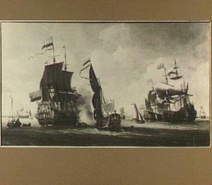 Aankomst van de Zeven Provincien bij de haven van Amsterdam
