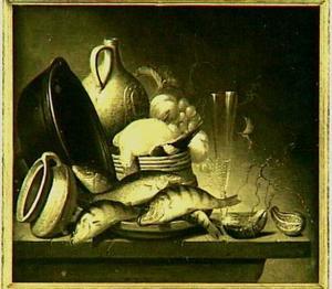 Stilleven met vis, een kookpot en andere objecten