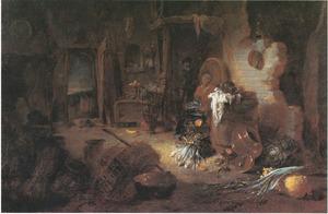 Boerderij-interieur met zittende vrouw, man op een ladder en figuur in de deuropening