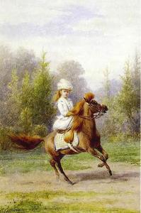 Prinses Wilhelmina op haar pony Baby