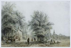 Gezicht op Lekkerkerk met vissers en wandelaars