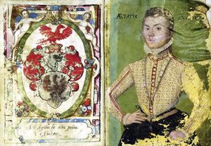 Portret van Carl van Arnhem (....-1599); links zijn familiewapen