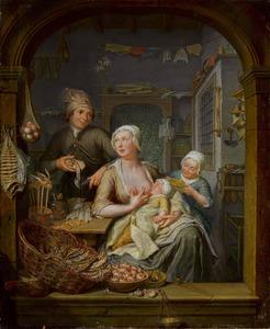 Interieur van een viswinkel met een zogende vrouw