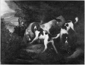 Jachthonden in een landschap