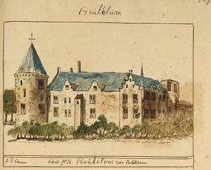 kasteel Heukelum voor de verwoesting in 1672, vanuit het noordoosten