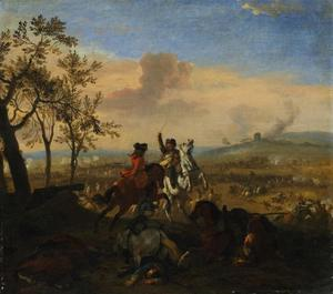 Vechtende ruiters in een landschap, een veldslag in de achtergrond