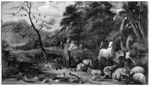 H. Franciscus met het Christuskind preekt voor de dieren