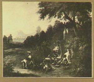 Landschap met jager die op jachthoorn blaast; aan z'n voeten een buit van gevogelte en drie honden
