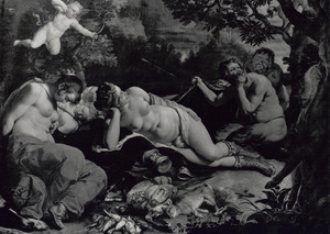 De slapende Diana en haar nimfen door saters bespied
