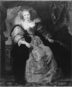 Portret van Helena Fourment, tweede echtgenote van Peter Paul Rubens, zittend in haar bruidskleed