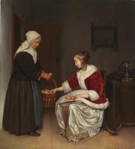 Vrouw en citroenverkoopster in een interieur