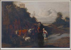 Landschap met een man te paard en een vrouw met vee op een ondergelopen weg