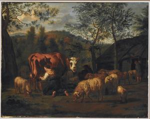 Meid melkt een koe, omringd door schapen