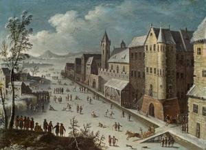 Schaatsers  bij een stad