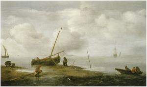 Zeegezicht met mosselvissers op een zandbank