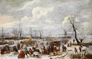 Winterlandschap met schaatsers, arresleeën en vissers op het ijs