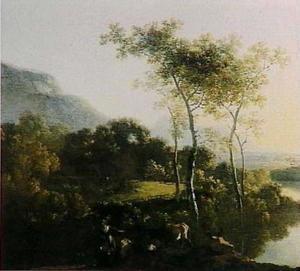 Italiaans rivierlandschap bij zonsondergang met herders