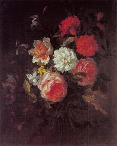 Boeket met koolrozen, Franse roos en andere bloemen