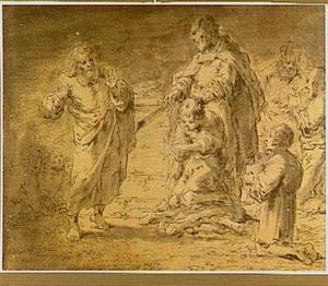 Carino verhindert Montano om Mirtillo te offeren (Guarini, Il Pastor Fido 5,4)