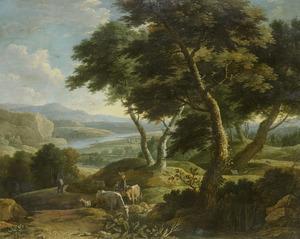 Heuvelachtig rivierlandschap met herders en vee