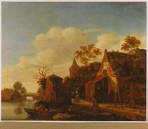 Dorp met kerk aan een rivier
