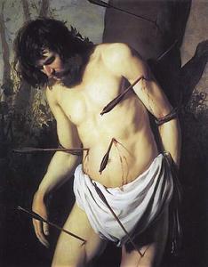 De H. Sebastiaan doorboord met pijlen