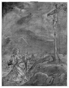 H. Maria Magdalena knielend aan de voet van het kruis