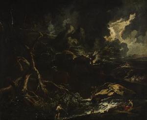 Landschap in een onweer