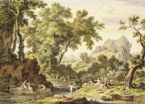 Arcadisch landschap met Diana en haar metgezellen en de ontdekking van de zwangerschap van Kallisto