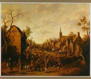 Overval door soldaten op een dorp