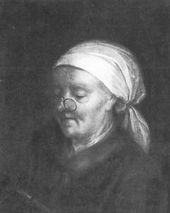 Genreportret van een oude lezende vrouw