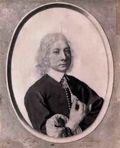 Portret van een jonge man, in een getekend ovaal