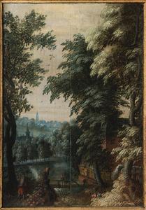 Boslandschap met watermolen